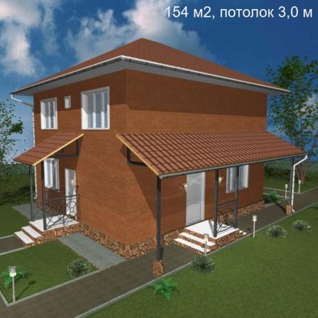 Дом свободной планировки 154 м2, потолок 3,0-Э17