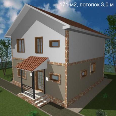 Дом свободной планировки 171 м2, потолок 3,0-Э25