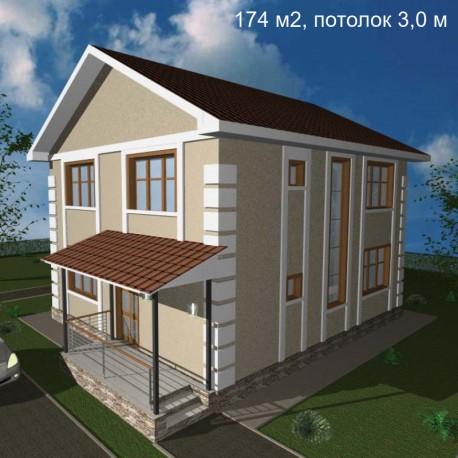 Дом свободной планировки 174 м2, потолок 3,0-Э33