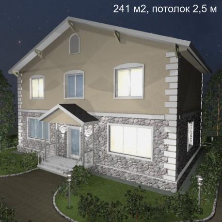 Дом свободной планировки 241 м2, потолок 2,5-Э38