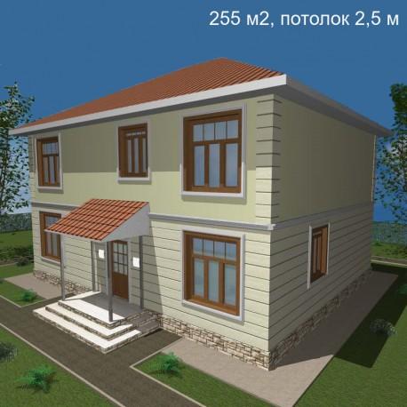 Дом свободной планировки 255 м2, потолок 2,5-Э46