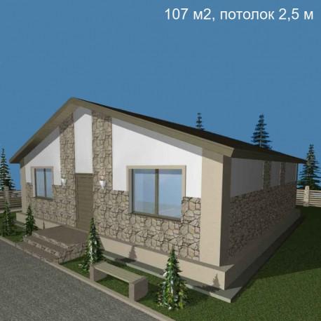 Дом стандарт планировки 107 м2, потолок 2,5-С12