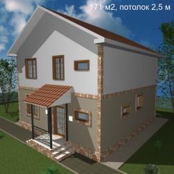 Дом стандарт планировки 171 м2, потолок 2,5-С26