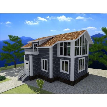 Двухэтажный дом из СИП панелей по канадской технологии, общей площадью 158 м2, высотой потолка 3,0 метра