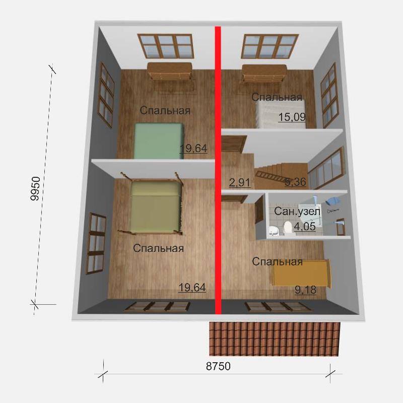 План второго этажа дома из СИП панелей